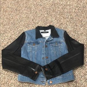 J brand Bowie denim jacket with coated sleeves